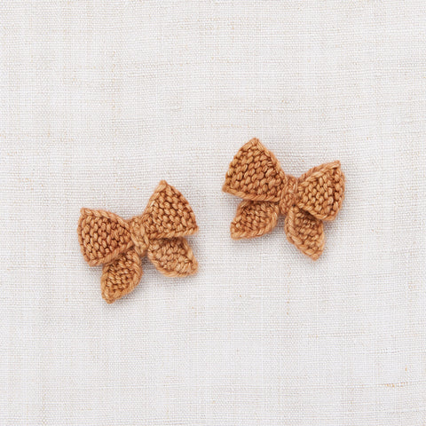 Hand Knit Merino Wool Baby Puff Bow Set - Rose Gold