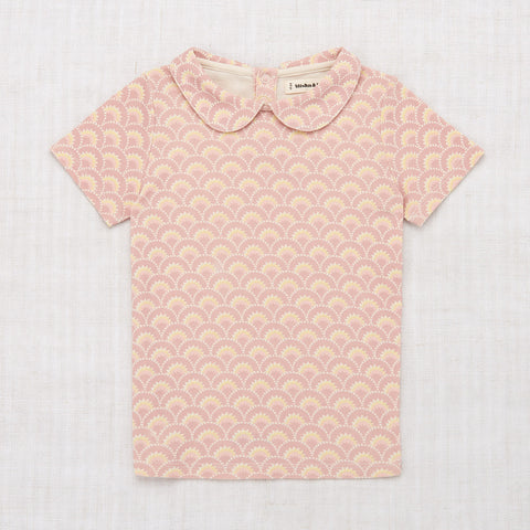 Cotton Collar Tee - Pale Mauve Art Deco