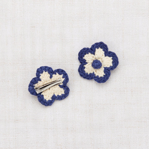 Hand Crochet Cotton Medium Flower Clip Set - Blue Violet