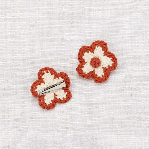 Hand Crochet Cotton Medium Flower Clip Set - Paprika