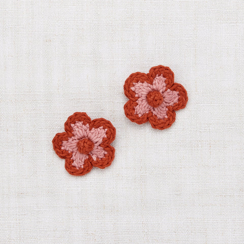 Hand Crochet Cotton Medium Flower Clip Set - Rose Blush
