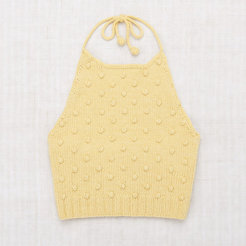 Hand Knit Cotton Popcorn Halter Top - Straw