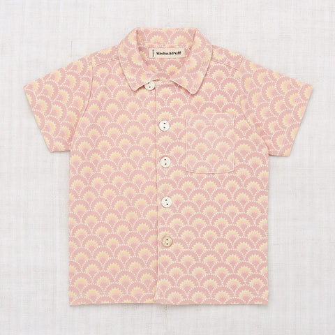 Cotton Printed Camp Shirt - Pale Mauve Art Deco