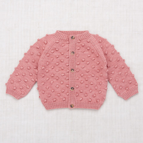 Hand Knit Cotton Summer Popcorn Cardigan - Rose Blush