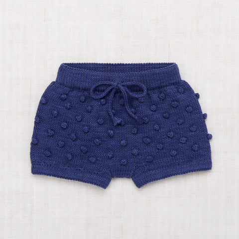 Hand Knit Cotton Summer Popcorn Shorts - Blue Violet