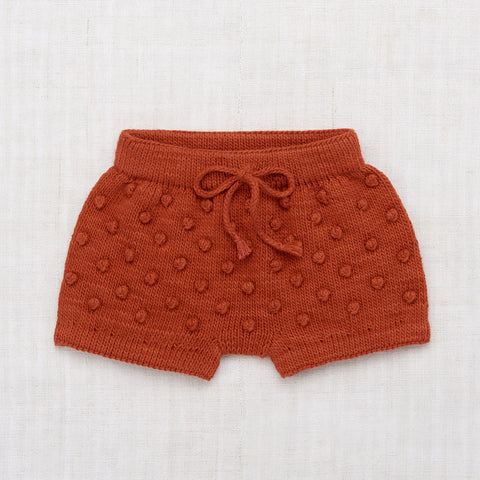 Hand Knit Cotton Summer Popcorn Shorts - Paprika
