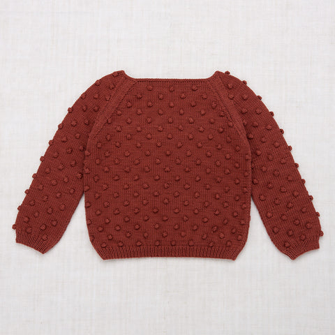 Hand Knit Cotton Summer Popcorn Sweater - Cocoa Bean