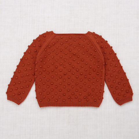 Hand Knit Cotton Summer Popcorn Sweater - Paprika
