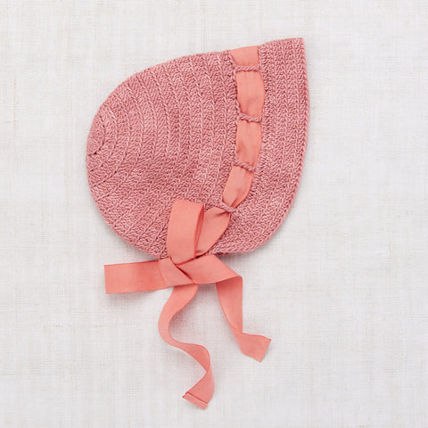 Hand Crochet Cotton Sunbonnet - Rose Blush