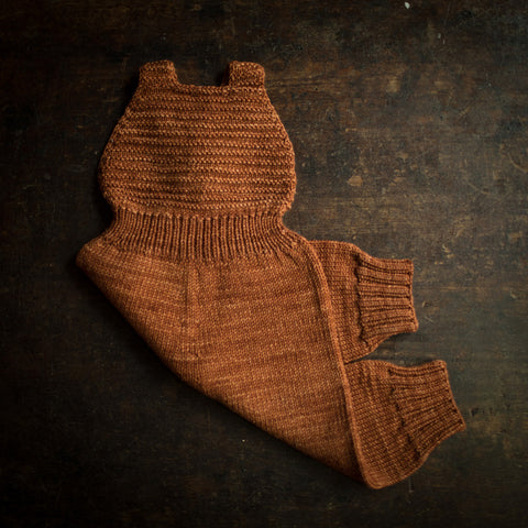 Exclusive Hand Knit Merino Wool Toboggan Overall - Terracotta