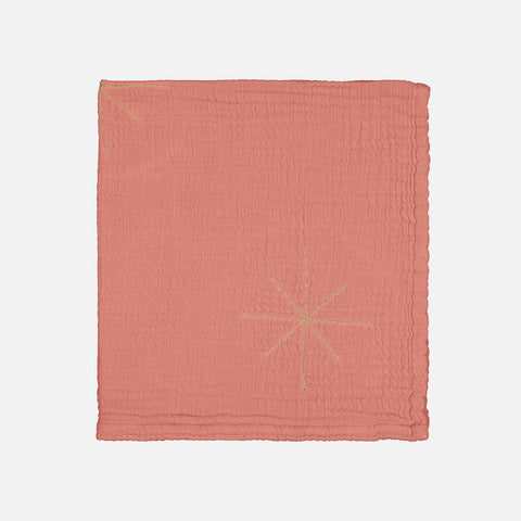Cotton Pan Pan Gold Embroidered Baby Blanket - Terracotta
