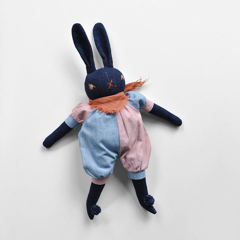 Handmade Medium Cotton Max Rabbit In Romper - Denim