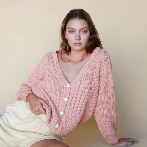 Women's Cotton Chunky Cardigan - Coral