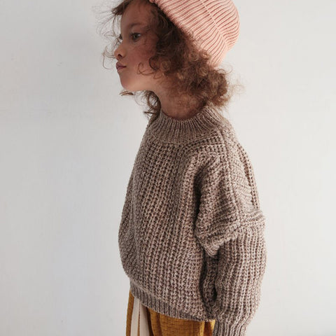 100% Cotton Chunky Rib Sweater - Caramel