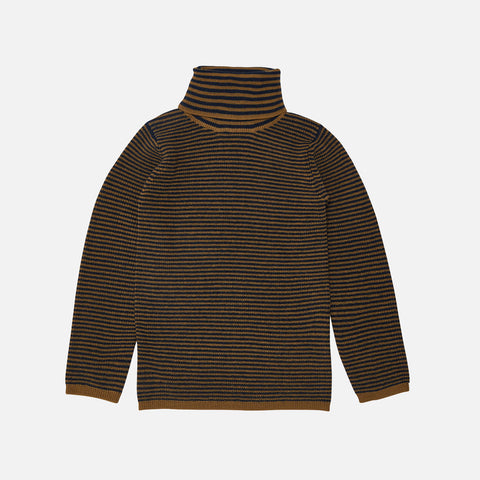 Merino Wool Stripe Roll Neck Top - Sienna/Navy