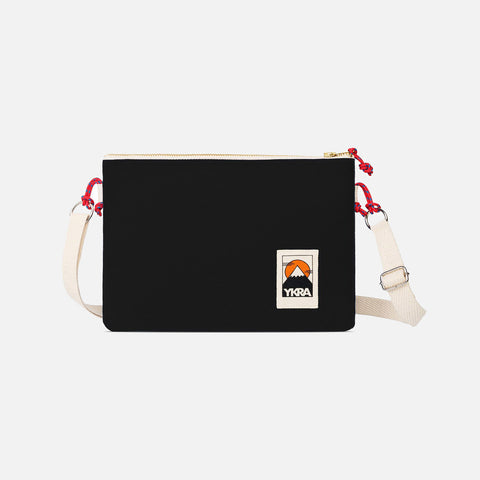 Cotton Canvas Side Pouch Bag - Black