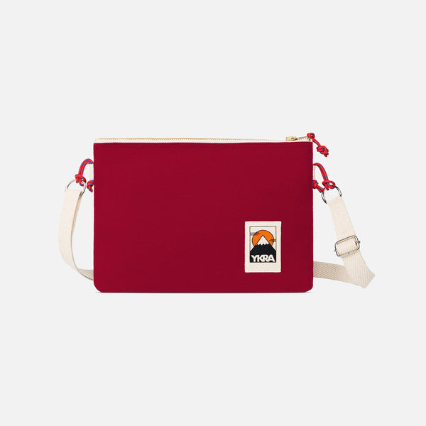 Cotton Canvas Side Pouch Bag - Bordeaux