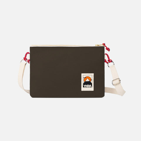 Cotton Canvas Side Pouch Bag - Khaki