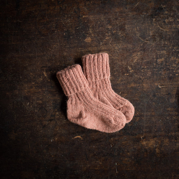 Hand-Knitted Alpaca Socks - Blush