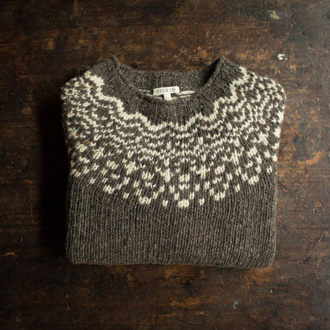 Adult's Merino Wool Isle Sweater - Granite