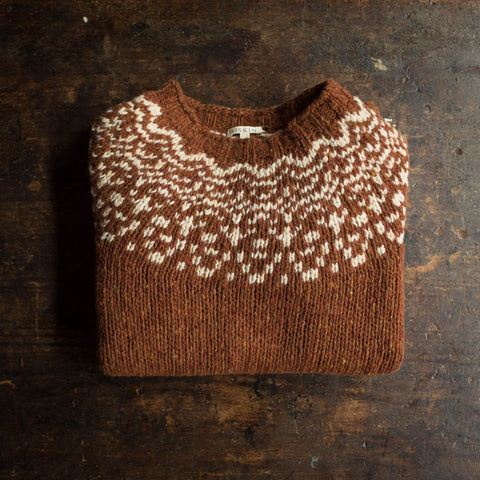 Adult's Merino Wool Isle Sweater - Cinnamon