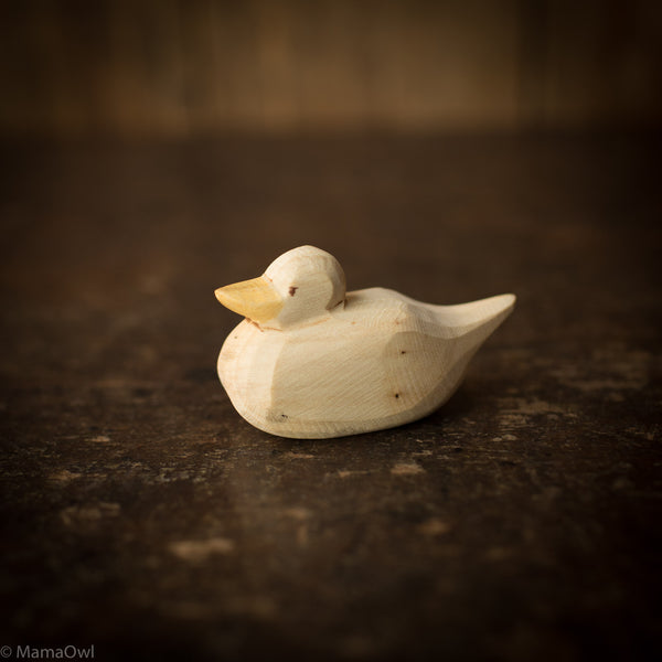 Hand Crafted Wooden Duck Swimming