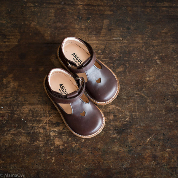 T-Bar Heart Toddler Shoes - Angulus Brown - 20(UK4) - 25(UK8)
