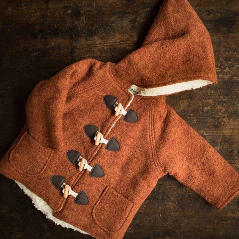 Exclusive Wool Pixie Hooded Coat - Autumn Leaf