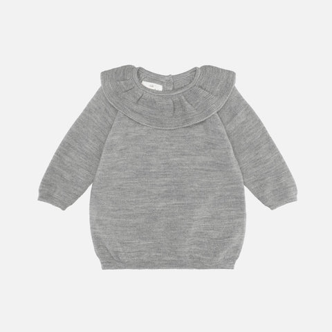 Merino Wool Fiol Collar Sweater - Light Grey
