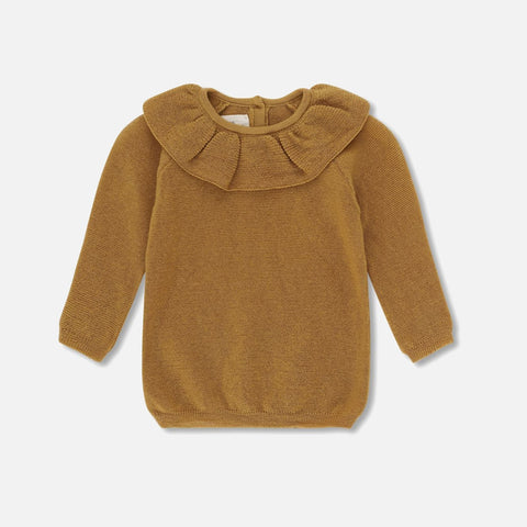 Merino Wool Fiol Collar Sweater - Mustard