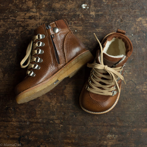 Wool Lined Waterproof Lace Boot w/ Zip - Cognac