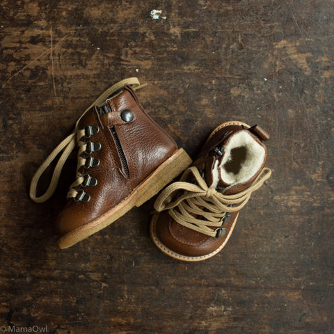 Lace Up w/Zip Toddler Waterproof Leather Boots - Cognac