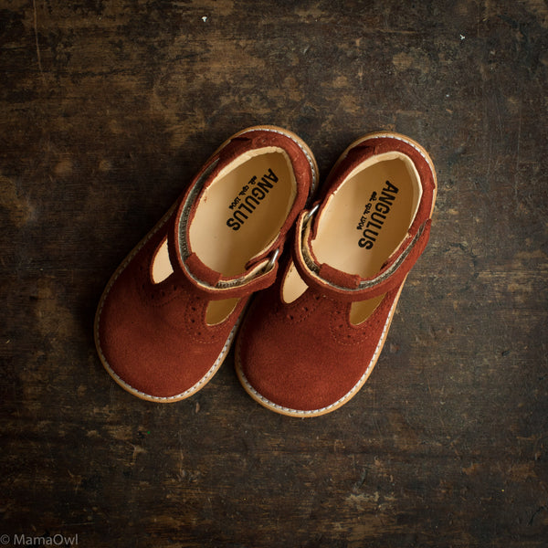 Toddler T-Bar Shoes With Brogue Detailing - Rust Suede
