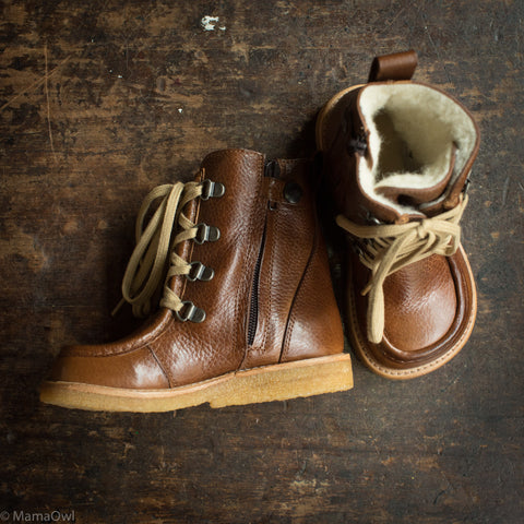 Wool Lined Waterproof Leather Boots w/Zip And Laces - Red/Brown