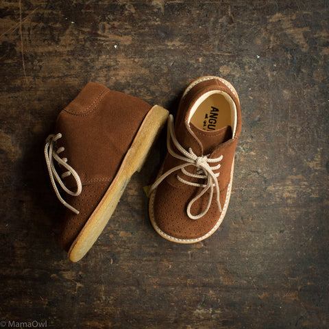 Toddler Lace Up Boots With Hole Pattern - Cognac