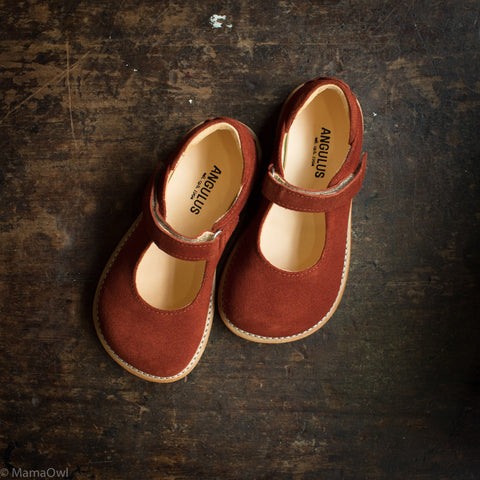 Mary Jane Shoes - Rust Suede