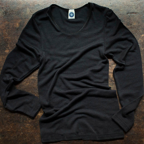Women's Merino Wool/Silk L/S Top - Black