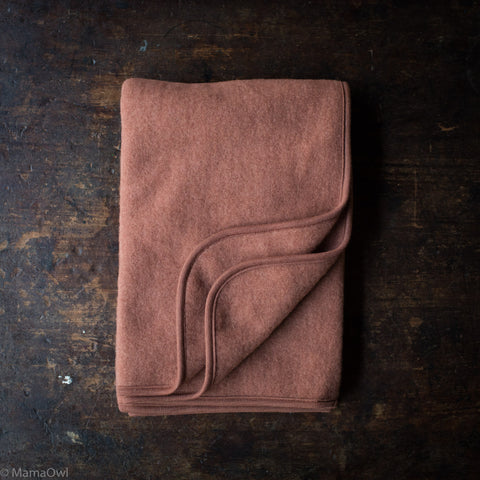 100% Organic Merino Wool Fleece Swaddle / Baby Blanket - Russet Rose
