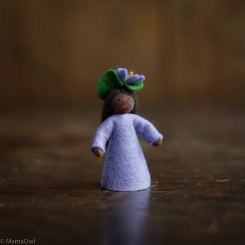 Handmade Wool Fairy With Flower Headdress - Violet