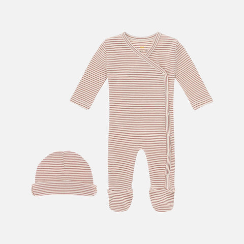 Organic Cotton Dio Newborn Romper & Hat - Ruben Red - 0-6m