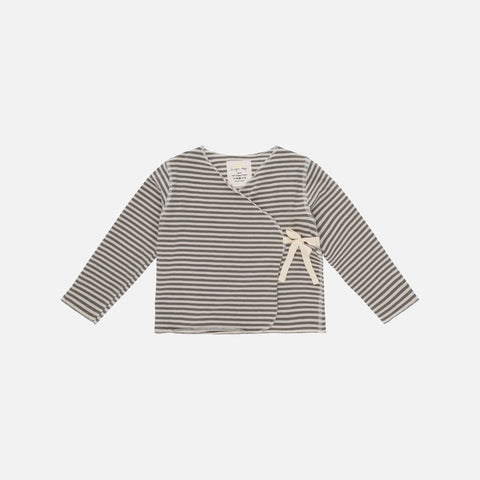 Organic Cotton Reya Cross Over Top - Ivy Green Stripe - 0-9m