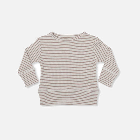 Organic Cotton Rib Kaya Top - Ruben Rose/Nature