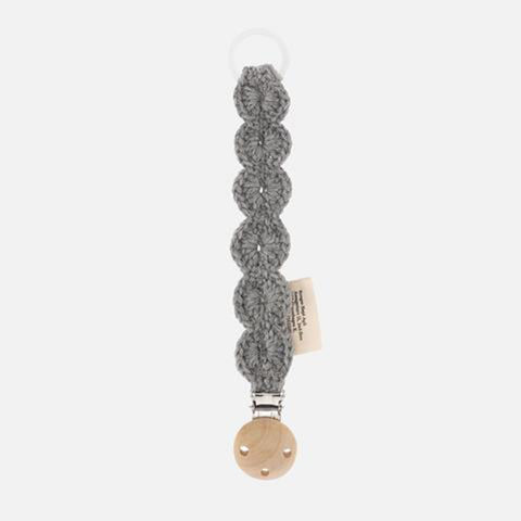 Merino Wool Soother/Pacifier Clip - Storm Grey