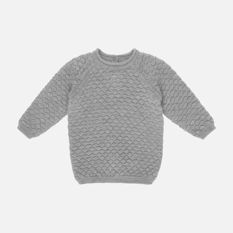 Merino Babur Bubble Knit Sweater - Grey