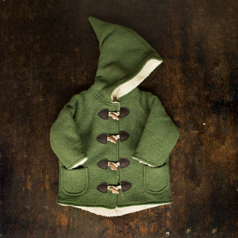 Wool Pixie Hooded Coat - Moss Green