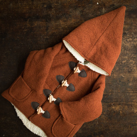 Wool Pixie Hooded Coat - Terracotta