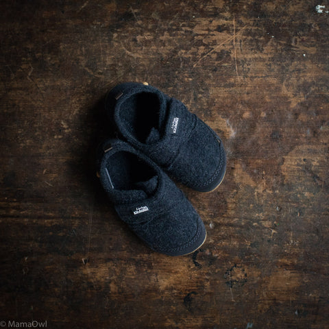 Velcro Wool Slipper - Navy