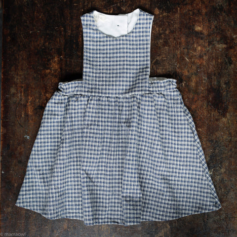 Cotton/Linen Alice Pinafore - Indigo Plaid