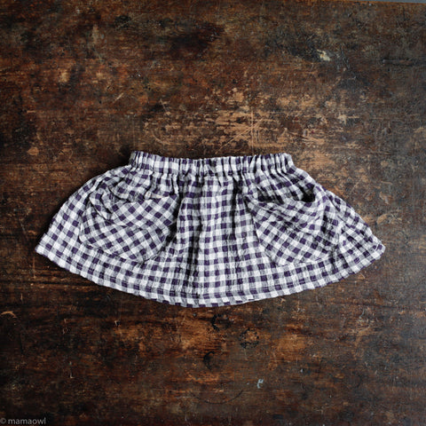 Cotton Frances Skirt - Aubergine Crinkle Gingham