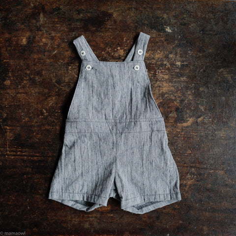 Cotton/linen Frankie Short Overalls  - Indigo/Cream Slub Cotton
